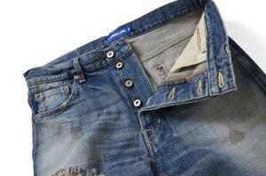 画像2: Lafayette 5 POCKET SELVAGE WASHED DENIM SHORTS - STANDARD FIT -