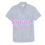 J.CREW Short-sleeve Indian madras shirt in blue patchwork
