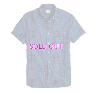 画像1: J.CREW Short-sleeve Indian madras shirt in blue patchwork